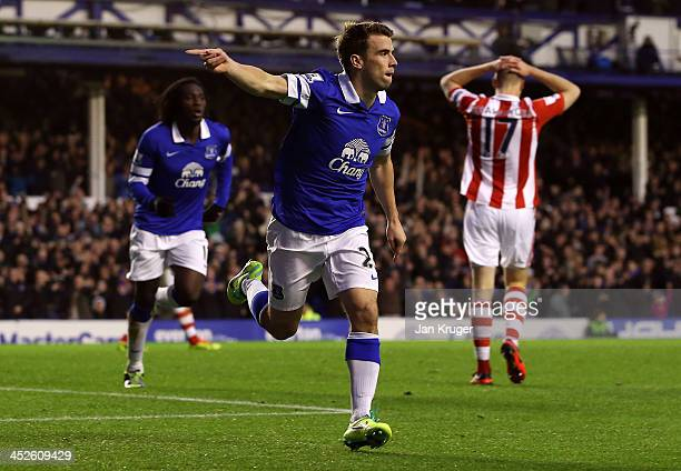 Seamus Coleman of Everton celebrates the second goal during the Barclays Premier League match between Everton and Stoke City at Goodison Park on...