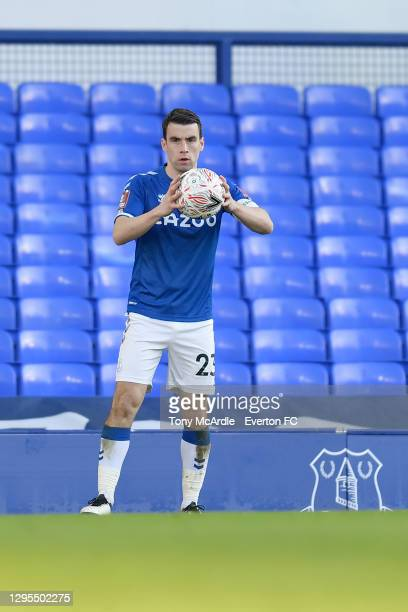 Seamus Coleman of Everton during the FA Cup Third Round match between Everton and Rotherham United at Goodison Park on January 9 2021 in Liverpool,...