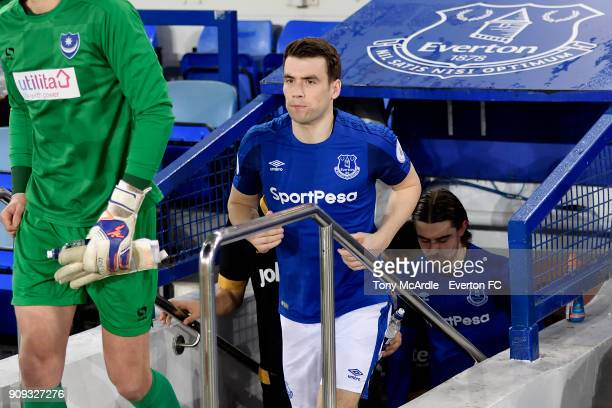 Seamus Coleman of Everton during the Premier League 2 match between Everton U23 and Portsmouth U23 at Goodison Park on January 23 2018 in Liverpool...
