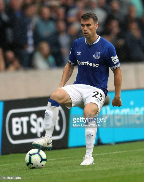Seamus Coleman of Everton during the Premier League match between Wolverhampton Wanderers and Everton FC at Molineux on August 11 2018 in...