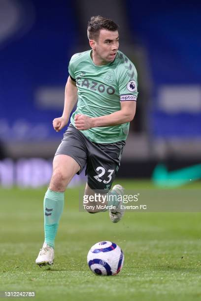 Seamus Coleman of Everton during the Premier League match between Brighton and Hove Albion and Everton at the American Express Community Stadium on...