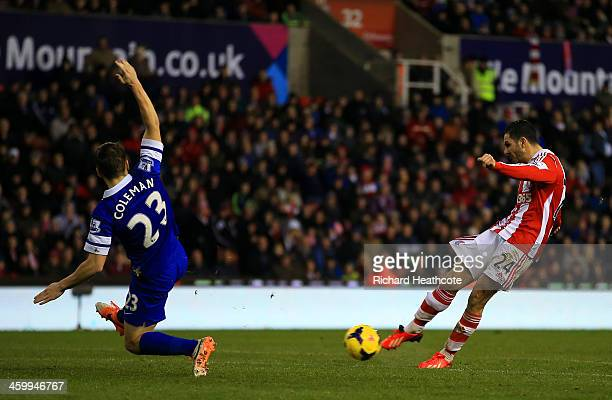 Seamus Coleman of Everton fails to stop Oussama Assaidi of Stoke City scoring the opening goal during the Barclays Premier League match between Stoke...