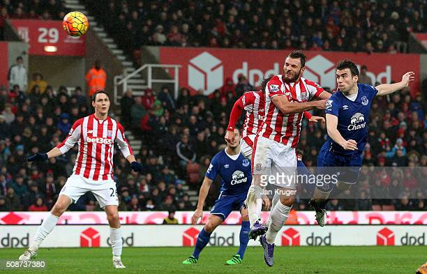 Seamus Coleman of Everton heads the ball to score his team's second goal during the Barclays Premier League match between Stoke City and Everton at...