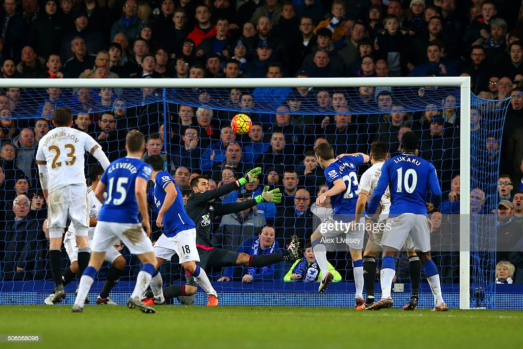 Seamus Coleman of Everton hits a late attempt over the bar during the Barclays Premier League match between Everton and Swansea City at Goodison Park on January 24, 2016 in Liverpool, England.