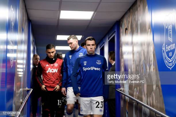 Seamus Coleman of Everton in the tunnel before the Premier League match between Everton FC and Manchester United at Goodison Park on March 1 2020 in...