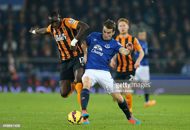 Seamus Coleman of Everton is challenged by Mohamed Diame of Hull City during the Barclays Premier League match between Everton and Hull City at...