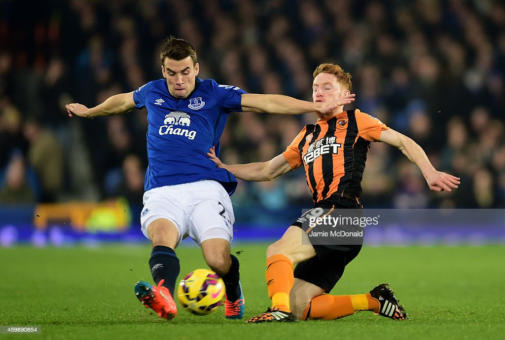 Seamus Coleman of Everton is tackled by Stephen Quinn of Hull City during the Barclays Premier League match between Everton and Hull City at Goodison Park on December 3, 2014 in Liverpool, England.