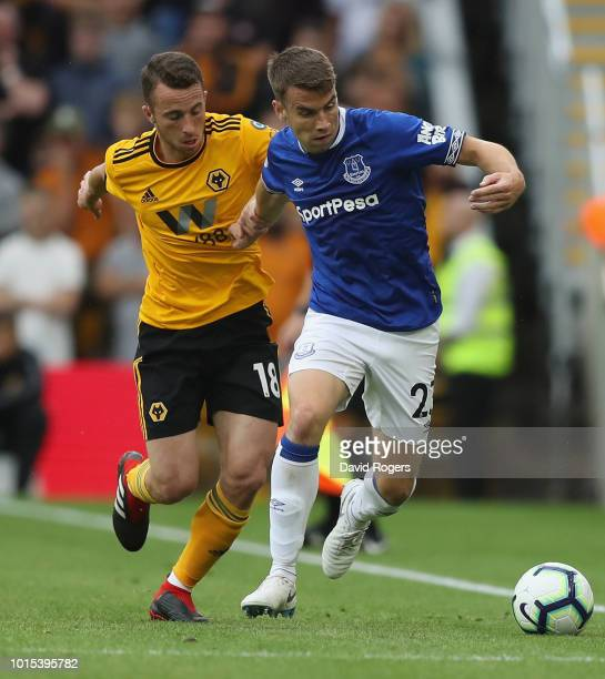 Seamus Coleman of Everton moves away from Diogo Jota during the Premier League match between Wolverhampton Wanderers and Everton FC at Molineux on...