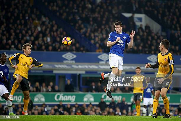 Seamus Coleman of Everton scores a goal to level the scores at 11 during the Premier League match between Everton and Arsenal at Goodison Park on...