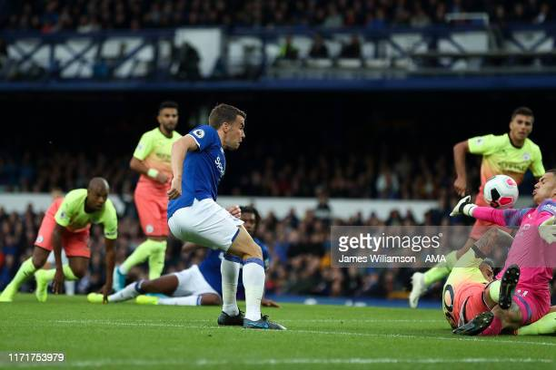 Seamus Coleman of Everton scores a goal to make it 1-1 during the Premier League match between Everton FC and Manchester City at Goodison Park on...