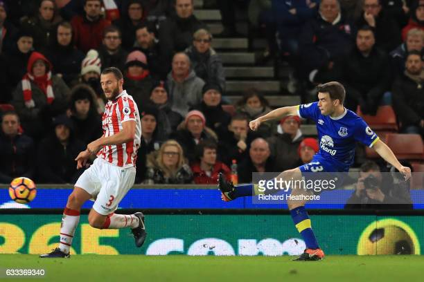 Seamus Coleman of Everton scores his team's opening goal during the Premier League match between Stoke City and Everton at Bet365 Stadium on February...