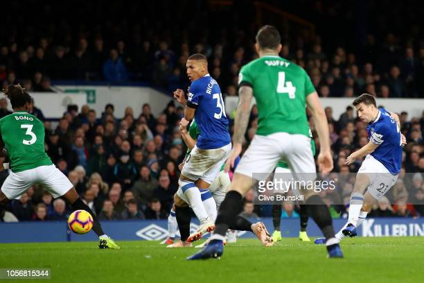 Seamus Coleman of Everton scores his team's second goal during the Premier League match between Everton FC and Brighton Hove Albion at Goodison Park...