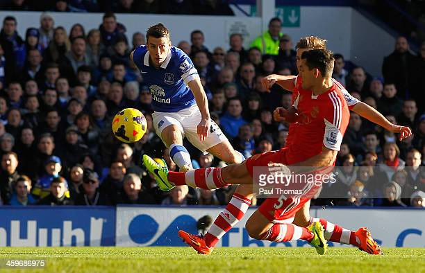 Seamus Coleman of Everton scores the opening goal during the Barclays Premier League match between Everton and Southampton at Goodison Park on...