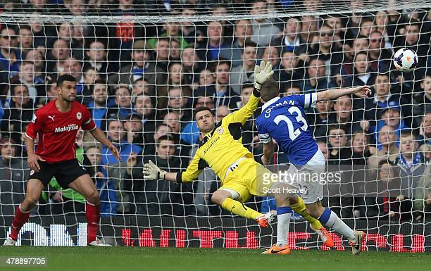 Seamus Coleman of Everton scores the winning goal during the Barclays Premier League match between Everton and Cardiff City at Goodison Park on March...