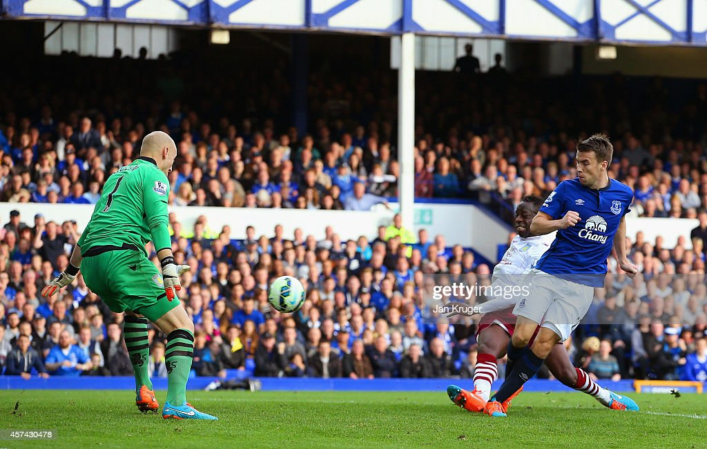 Seamus Coleman of Everton scores their third goal past Brad Guzan of Aston Villa during the Barclays Premier League match between Everton and Aston Villa at Goodison Park on October 18, 2014 in Liverpool, England.