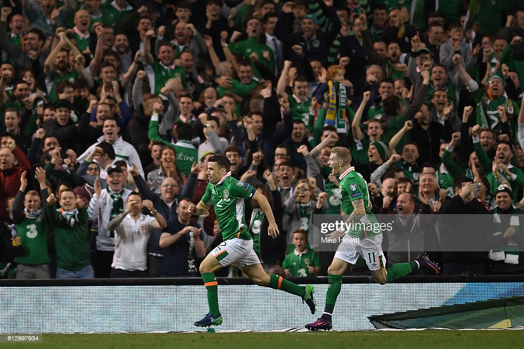 Seamus Coleman of Ireland celebrates with James McClean after scoring during the FIFA 2018 World Cup Group D Qualifier between Republic of Ireland Georgia at the Aviva Stadium on October 6, 2016 in Dublin, Ireland.