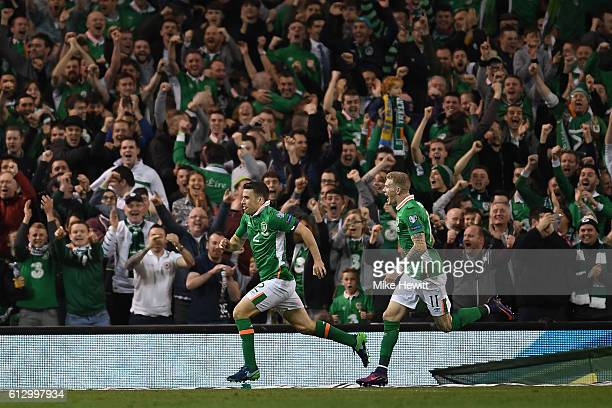 Seamus Coleman of Ireland celebrates with James McClean after scoring during the FIFA 2018 World Cup Group D Qualifier between Republic of Ireland...