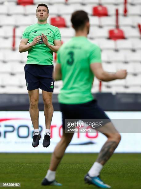 Seamus Coleman of Ireland national football team attends a training session ahead of friendly football match between Turkey and Ireland at New...