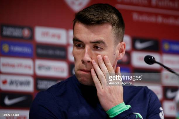 Seamus Coleman of Ireland national football team holds a press conference ahead of friendly football match between Turkey and Ireland at New Antalya...