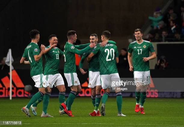 Seamus Coleman of Northern Ireland celebrates after scoring his team's first goal during the UEFA Euro 2020 Qualifier between Germany and Northern...