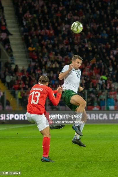 Seamus Coleman of Republic of Ireland battles for the ball with Ricardo Rodriguez of Switzerland during the UEFA Euro 2020 qualifier between...