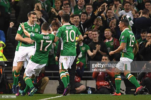 Seamus Coleman of Republic of Ireland celebrates scoring his sides first goal with team mates during the FIFA 2018 World Cup Group D Qualifier...