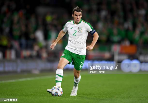 Seamus Coleman of Republic of Ireland runs with the ball during the UEFA Nations League B group four match between Wales and Republic of Ireland at...