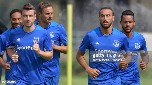 Seamus Coleman Phil Jagielka Cenk Tosun and Theo Walcott of Everton in action during the Everton training session on July 9 2018 in Bad Mitterndorf...