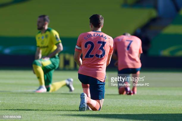 Seamus Coleman takes the knee during the Premier League match between Norwich City and Everton at Carrow Road on June 24 2020 in Norwich England