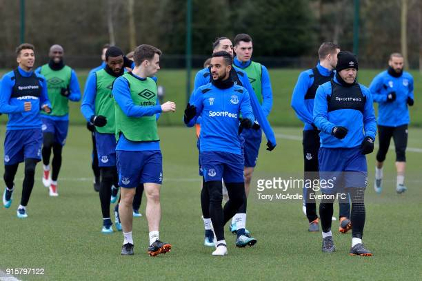 Seamus Coleman Theo Walcott and team mates during the Everton training session at USM Finch Farm on February 8 2018 in Halewood England