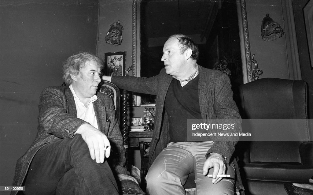 Seamus Heaney and Joseph Brodsky relaxing after their performance in the Gate Theatre, Dublin, October 7, 1985. (Part of the Independent Newspapers Ireland/NLI Collection).