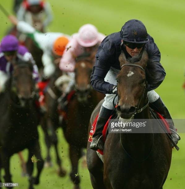 Seamus Hefferman and Soldier Of Fortune land The Budweiser Irish Derby Race run at The Curragh Racecourse on July 1 in The CurraghIreland