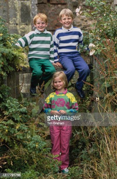 Seamus Makim with Andrew Ferguson, and Andrew's sister, Alice Ferguson, in the garden of Dummer Down Farm in Dummer, Hampshire, 6th July 1986. Alice...