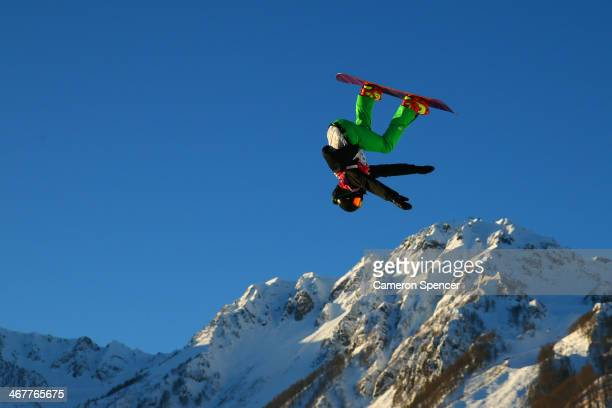 Seamus O'connor of Ireland competes during the Snowboard Men's Slopestyle Semifinals during day 1 of the Sochi 2014 Winter Olympics at Rosa Khutor...