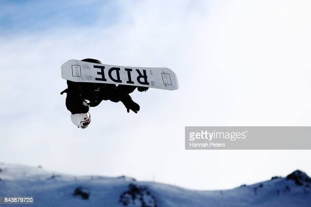 Seamus O'Connor of Ireland competes during the Winter Games NZ FIS Men's Snowboard World Cup Halfpipe Finals at Cardrona Alpine Resort on September 8...