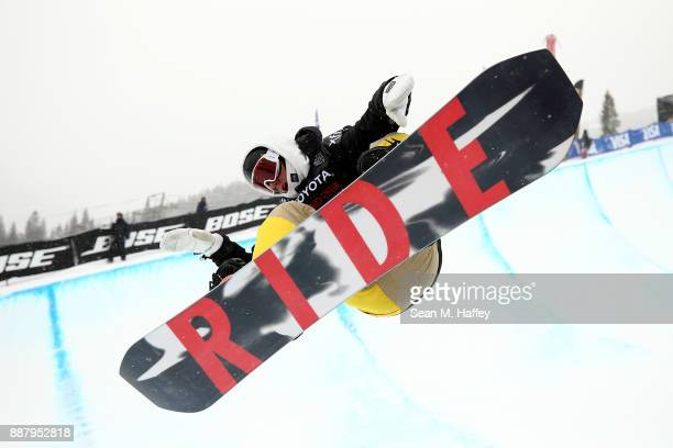 Seamus O'Connor of Ireland competes in a qualifying round of the FIS Snowboard World Cup 2018 Men's Snowboard Halfpipe during the Toyota US Grand...