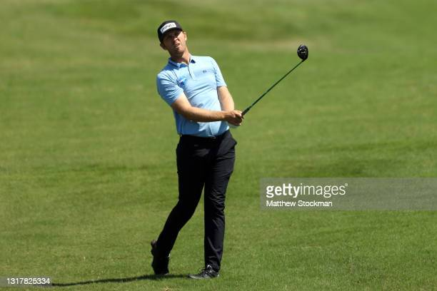 Seamus Power hits an approach shot on the 18th hole during round one of the AT&T Byron Nelson at TPC Craig Ranch on May 13, 2021 in McKinney, Texas.