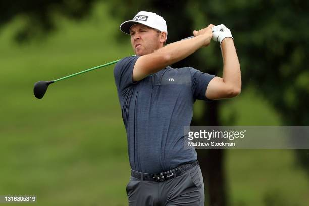 Seamus Power hits from the fairway on the 5th hole during the final round of the AT&T Byron Nelson at TPC Craig Ranch on May 16, 2021 in McKinney,...