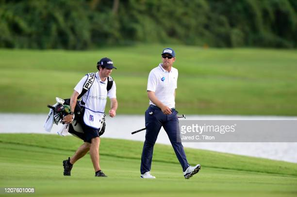 Seamus Power of Ireland and his caddie walk the eighth hole during the first round of the Puerto Rico Open at Coco Beach Golf and Country Club on...