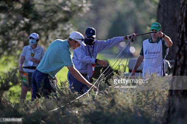 Seamus Power of Ireland checks his lie on the 17th hole during the final round of the Barracuda Championship at Tahoe Mountain Club's Old Greenwood...
