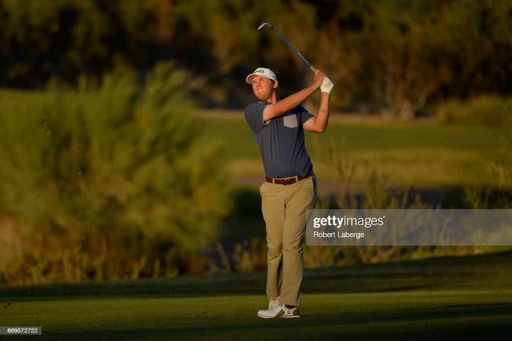 Seamus Power of Ireland hits his approach shot on the third hole during the first round of the Shriners Hospitals For Children Open at TPC Summerlin on November 2, 2017 in Las Vegas, Nevada.