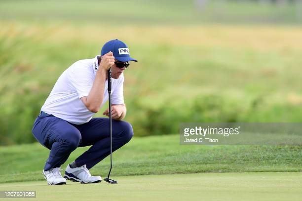 Seamus Power of Ireland lines up a putt on the eighth green during the first round of the Puerto Rico Open at Coco Beach Golf and Country Club on...