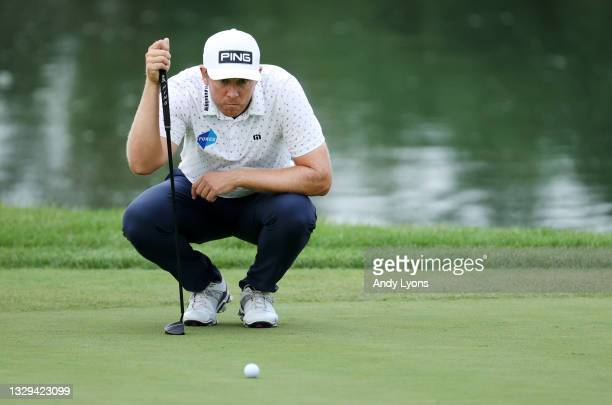 Seamus Power of Ireland lines up a putt on the ninth hole during the fourth playoff hole during the final round of the Barbasol Championship at Keene...
