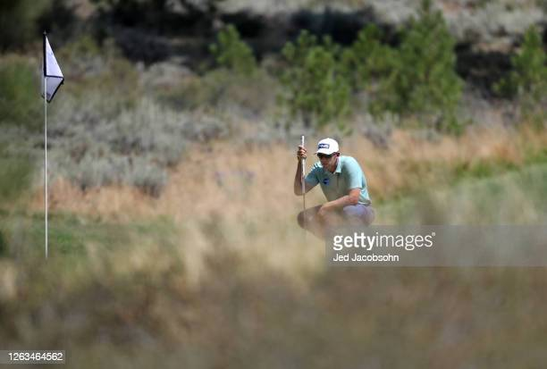 Seamus Power of Ireland lines up a putton the first green during the final round of the Barracuda Championship at Tahoe Mountain Club's Old Greenwood...