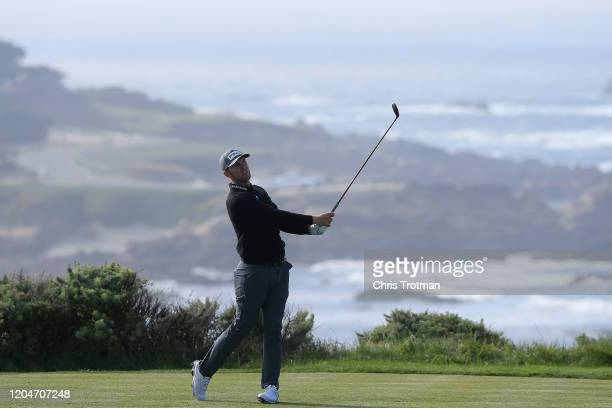 Seamus Power of Ireland plays a shot during the second round of the AT&T Pebble Beach Pro-Am at Spyglass Hill Golf Course on February 07, 2020 in...