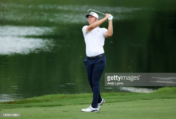 Seamus Power of Ireland plays his second shot on the 18th hole during the first playoff hole during the final round of the Barbasol Championship at...