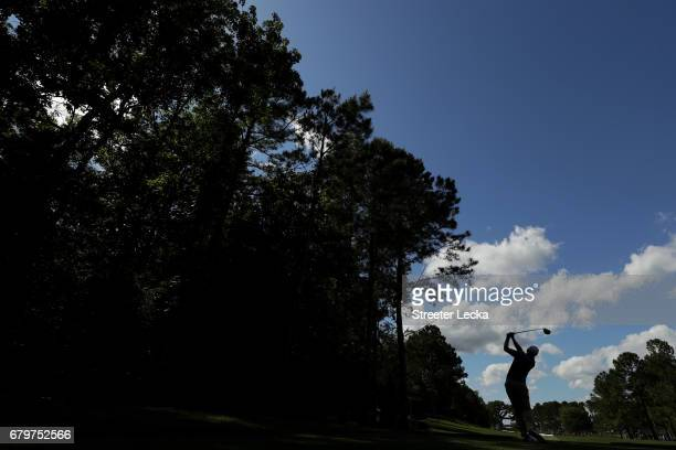 Seamus Power of Ireland plays his shot from the 11th tee during round three of the Wells Fargo Championship at Eagle Point Golf Club on May 6, 2017...