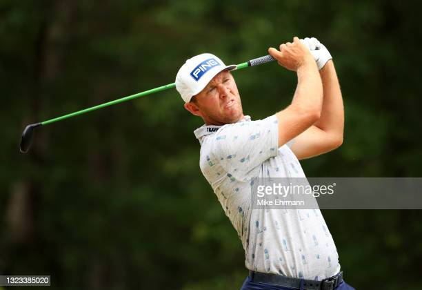 Seamus Power of Ireland plays his shot from the 12th tee during the final round of the Palmetto Championship at Congaree on June 13, 2021 in...