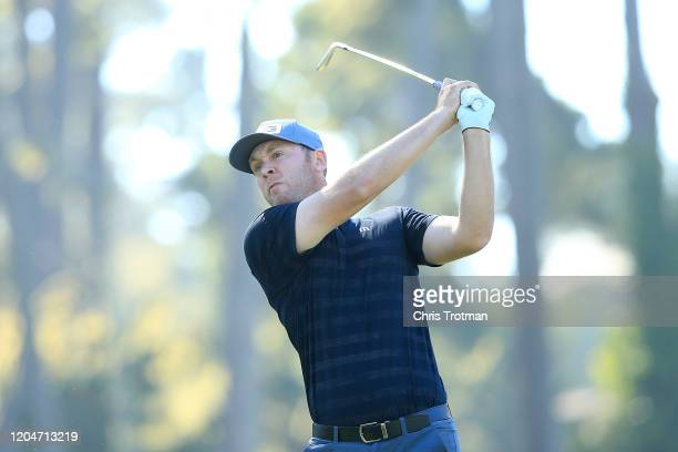 Seamus Power of Ireland plays his shot from the 15th tee during the second round of the AT&T Pebble Beach Pro-Am at Spyglass Hill Golf Course on...