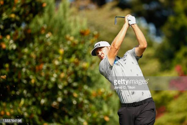 Seamus Power of Ireland plays his shot from the 16th tee during the first round of the Wyndham Championship at Sedgefield Country Club on August 12,...